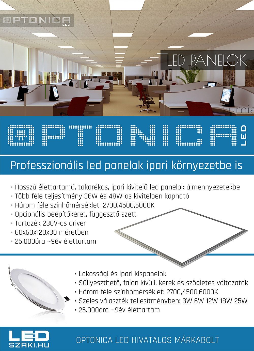 kazettás 60x60-as led panelok